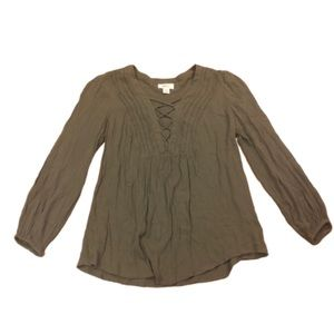 Style & Co Green Lace Up Plunge Ruffle Top Small
